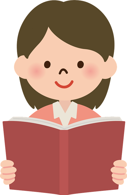 young girl holding a book clipart
