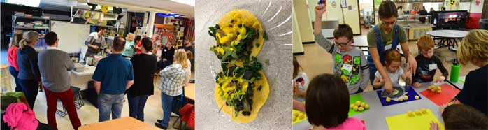 Families participate in healthy taco cooking class