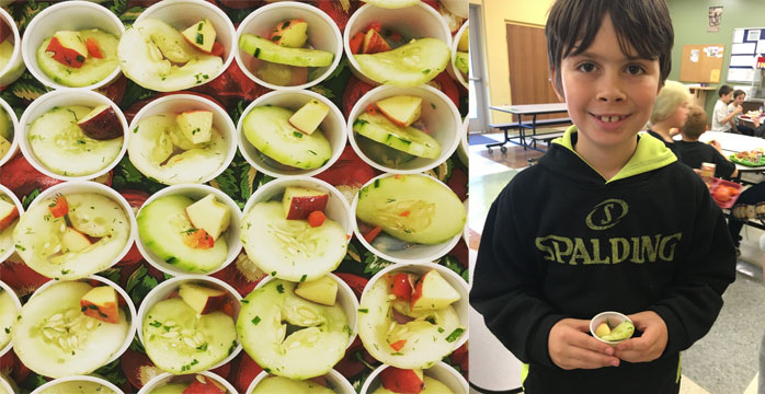 Cucumber Apple Salad Receipt and Student Taste Testing the Recipe