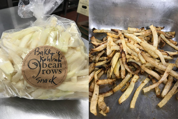 Kohlrabi sticks before and after baking