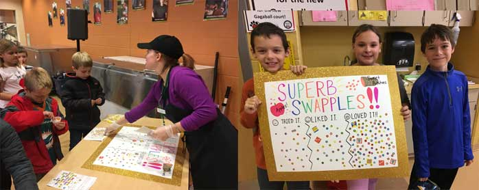 Long Lake students hold up superb swapples voting poster