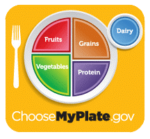 My Plate graphic depicting portion size of fruits, vegetables, grains, proteins and dairy