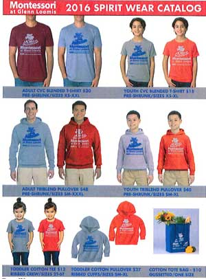 Montessori Spirit Wear Options