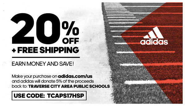Click here for a 20% discount and free shipping on your adidas purchase. Use the code TCAPS17HSP and 5% of your purchase will benefit TCAPS' athletic programs.