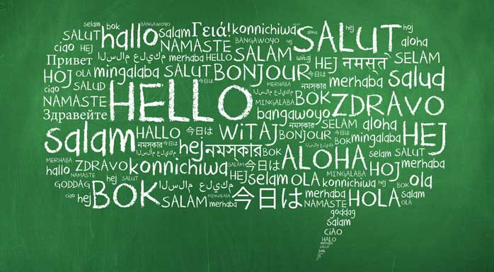 Hello in many languages, salut, hallo, namaste, salam, bonjour, bok, aloha, bok