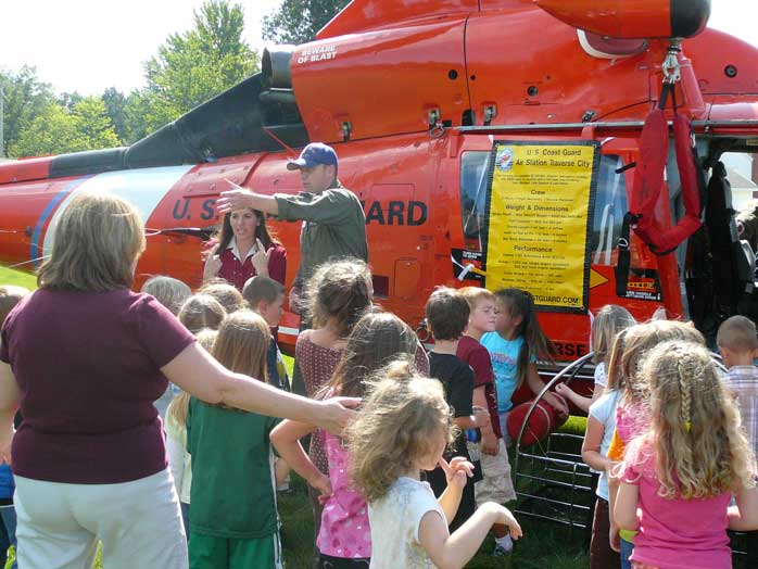 USCG helicopter visits a TCAPS elementary school