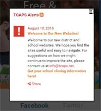 Sample School Closings & Alerts appears upon opening website: TCAPS alerts: date, title of alert, followed by appropriate message will be read