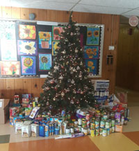 Donations under the tree on day 4 of Willow Hill's 12 days of giving