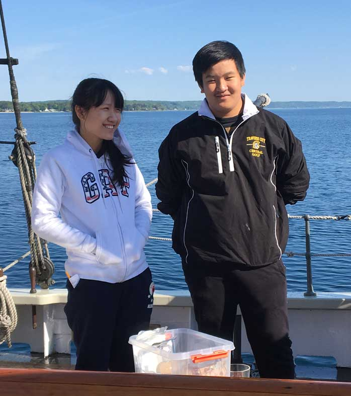 International students enjoying an outing on Grand Traverse Bay