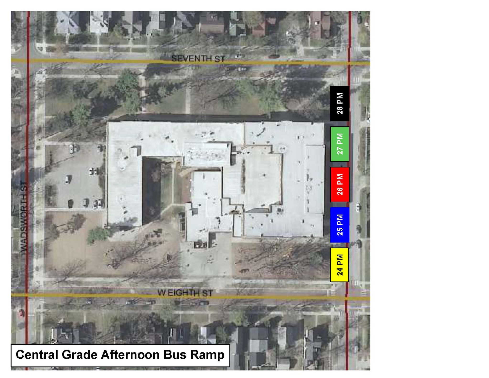 Central Grade bus ramp parking map