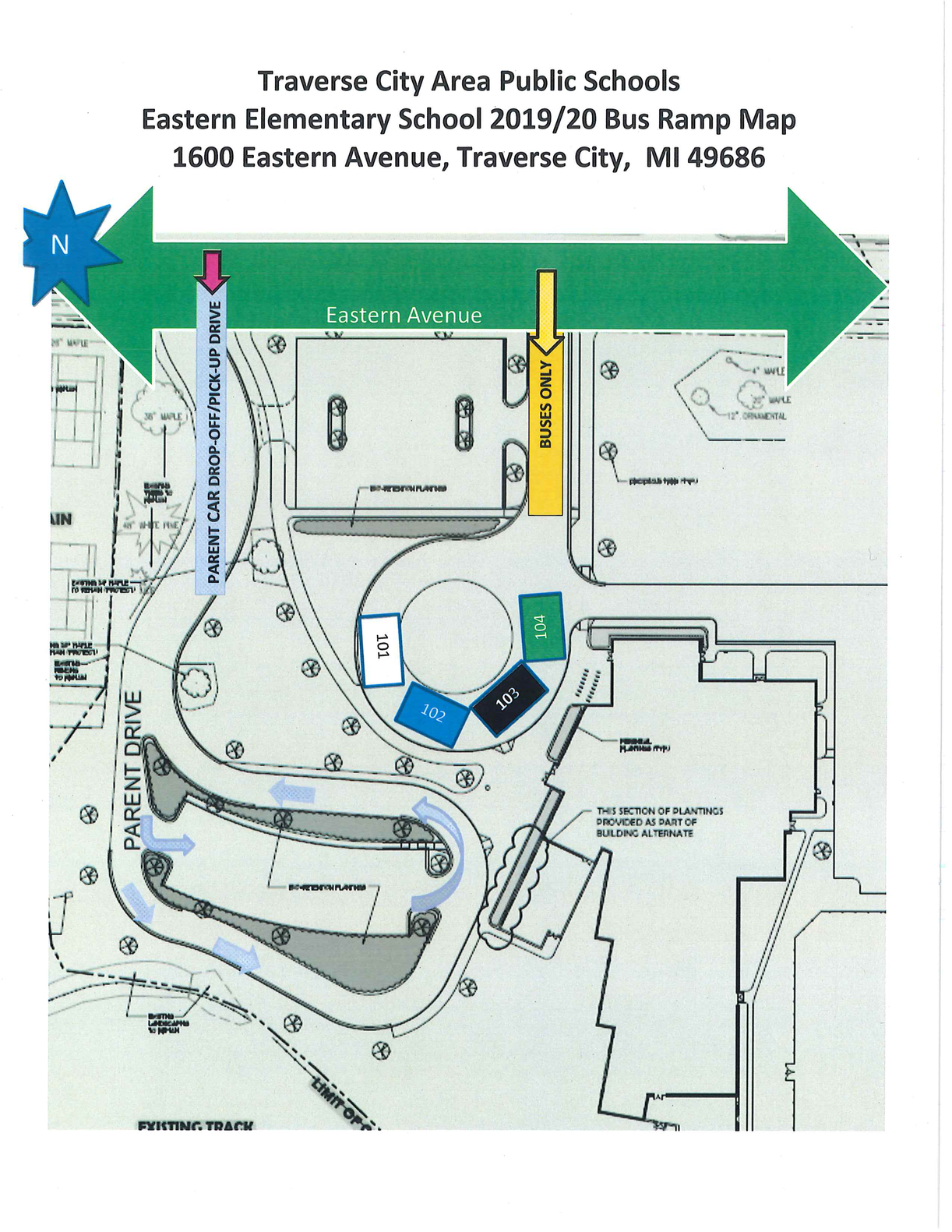 eastern bus ramp parking map